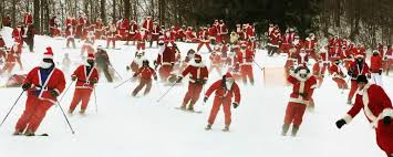 Skiing Santas?  YES!  Skiing Santas!